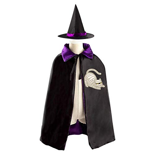 69PF-1 Halloween Cape Matching Witch Hat Evil Cat Bandage Wizard Cloak Masquerade Cosplay Custume Robe Kids/Boy/Girl Gift Purple