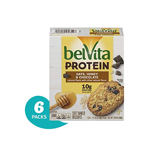 belVita Protein Oats, Honey & Chocolate Soft Baked Biscuits, 6Count