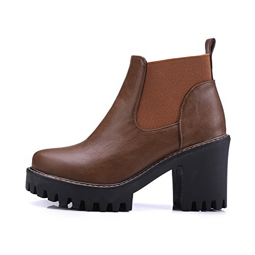 AmoonyFashion Pu Brown High Pull Heels Round Solid Women's Toe Closed On Boots g4qW4xSOw6
