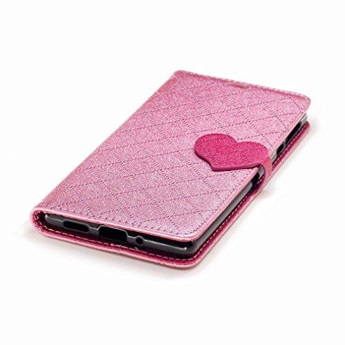 Yiizy Nokia 3 Custodia Cover, Amare Design Sottile Flip Portafoglio PU Pelle Cuoio Copertura Shell Case Slot Schede Cavalletto Stile Libro Bumper Protettivo Borsa (Rosa)