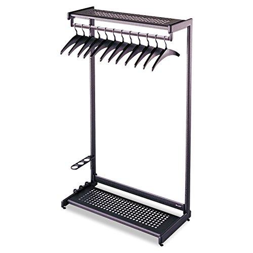 8 Shelf Single Sided Rack - Quartet Two-Shelf Garment Rack, Freestanding, 24 Inch, Black, 8 Hangers Included (20222)