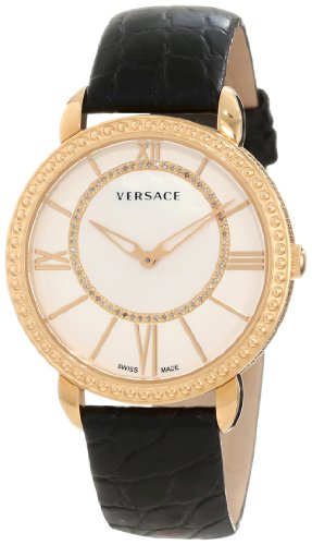 Versace Women's M6Q80SD498 S009 Krios Rose Gold IP Black Leather Mother-Of-Pearl Dial Sapphire Crystal Diamond Watch