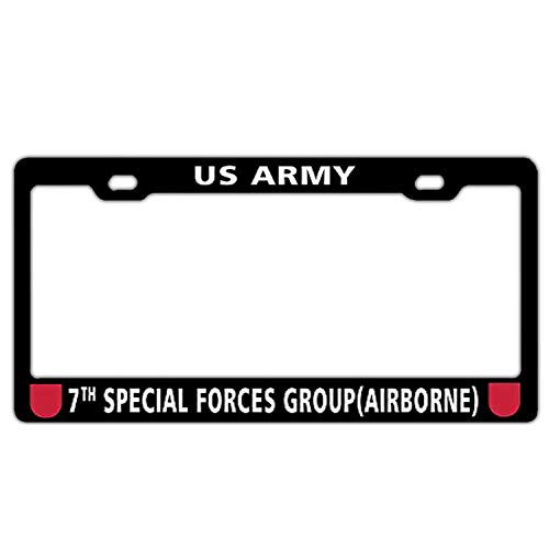 7th Special Forces Group (Airborne) US Army Black License Plate Frame for Men/Women, Car License Plate Frame to Fit Any Standard US Plates