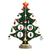 TJW Xmas Tree,Wooden Tabletop Chirstmas Tree with Miniature Christmas Ornaments for Home Office Desk Decoration (Green)