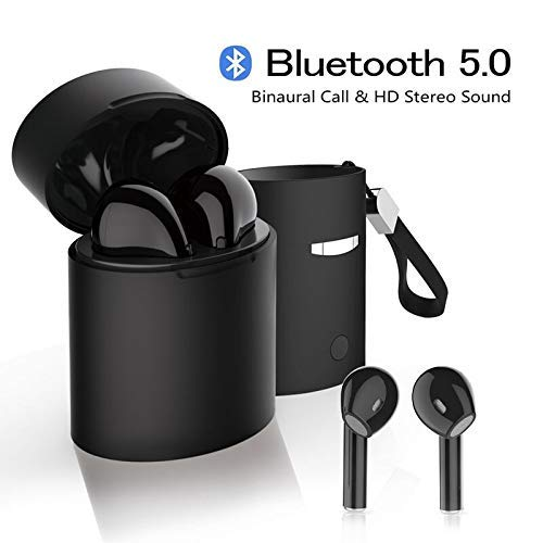 Bluetooth Headset 5.0, Wireless Earbuds, Built-in Hands-Free Microphone and Charging Box, Noise-Reduction high-Definition 3D Stereo, for in-Ear Apple Airpods Android/iPhone/Samsung, etc. (White) (X10)
