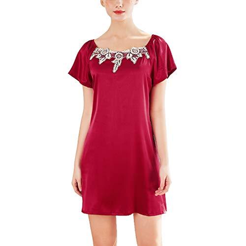 Lus Chic Womens Satin Sleep Dress Silk Summer Short Sleeve Nightgown Lace Luxury Loungewear
