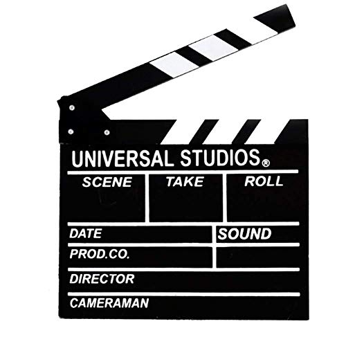 Movie Film Clap Board, Hollywood Clapper Board Wooden Film Movie Clapboard Accessory with Black & White, 11.7
