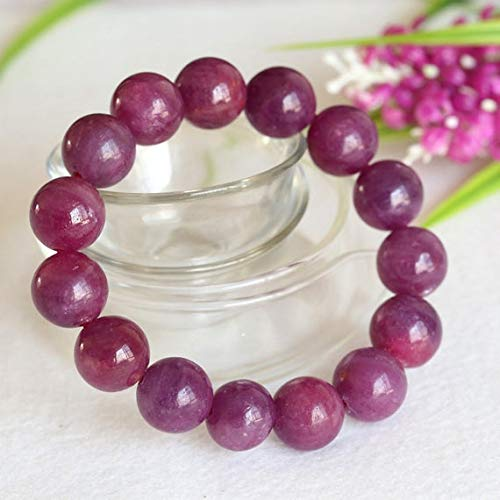 GemAbyss Beads Gemstone 1 Strands Natural Purple Red South Africa Ruby Stretch Bracelet Round Big Beads 14mm 04360 Code-MVG-22952