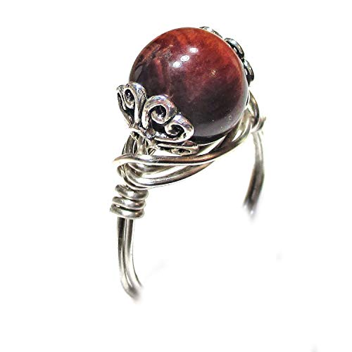 (Red Tiger Eye Gemstone Solitaire Silver Wire Tibetan Silver Elements Wrap Ring for Women Size 4-12)