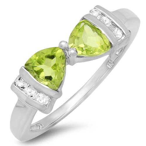 (1ct tw Peridot and White Topaz Trillion Bow Tie Ring in Sterling Silver(Available Sizes 5-7) sz 5)
