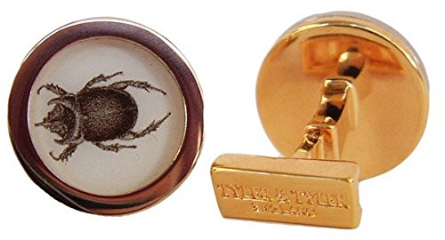 Tyler and Mens Ox Beetle Capsule Cufflinks - Gold