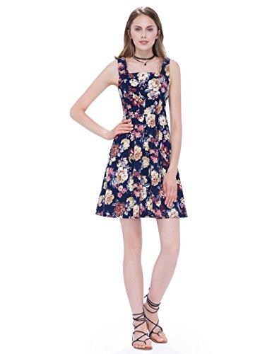 Kurz Ärmellos Sommerkleider Einfach Abendkleider Blumenprint Marineblau 05489 Damen Casual Alisapan