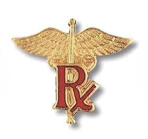 Prestige Medical Emblem Pin, Pharmacist (RX on Caduceus)