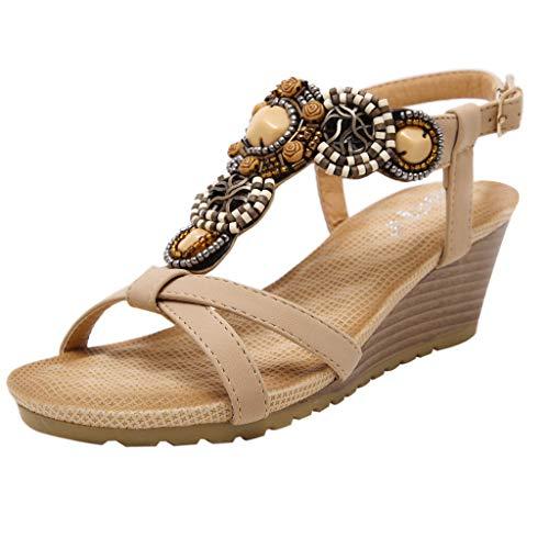BEAUTYVAN Summer Bohemia Sandals,Women's Rhinestone T Strap Platform Wedge Dress Sandal Black