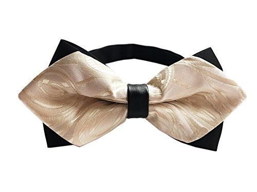 Elegant Champagne Floral Bow Ties Tuxedo Silk Bowties Wedding Party for Boys Men - Cream Square Black