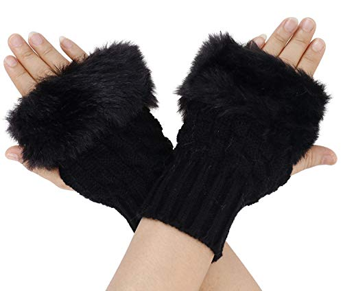- ThunderCloud Women's Warm Winter Faux Fur Knitted Hand Warmer Gloves,Black