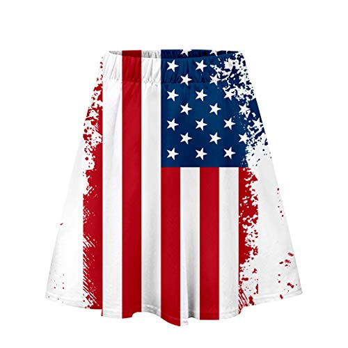 POQOQ July 4 Dress Women Skirt Independence Day Print Casual Pleated Skirt Red]()