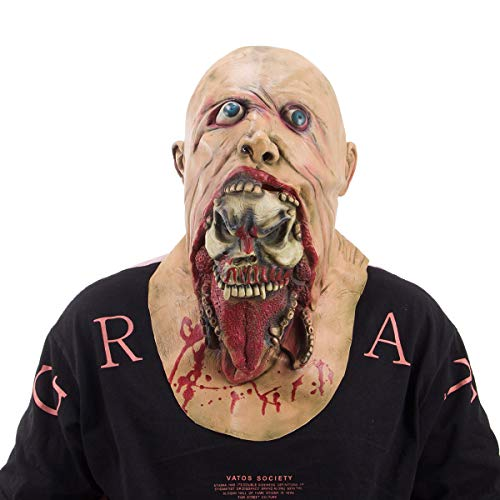 Really Scary Halloween Props (Alphatool Scary Latex Full Head Halloween Mask- Horror Zombie Mask Prop for Halloween Costume Party, Cosplay, Haunted House)