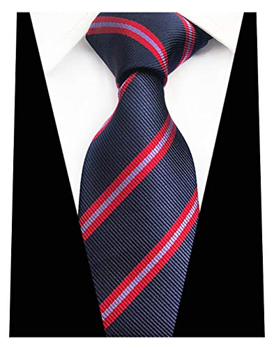 MENDENG New Mens Stripe Paisley 100% Silk Necktie Classic Striped Formal Ties (One Size, Dark-Blue and Red)