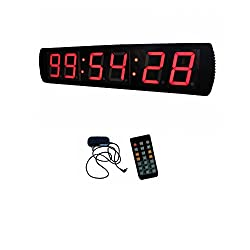 AZOOU 4'' Large 6 Digits LED Wall Clock Countdown/up Timer HH:MM:SS Red Color