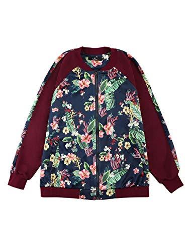 Agnes Orinda Women's Plus Size Zipper Raglan Sleeves Floral Bomber Jacket Red 1X ()