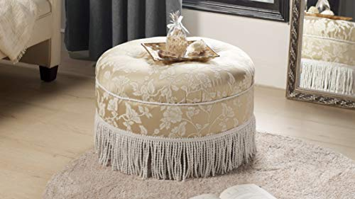 Jennifer Taylor Home Yolanda Collection Traditional Modern Cotton Blend Hand Tufted With Cord and Fringe Round Ottoman, Neutral from Jennifer Taylor Home