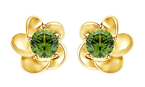 - Christmas Sale Round Cut Simulated Peridot Flower Stud Earrings In 14K Yellow Gold Over Sterling Silver