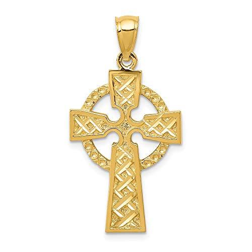 14K Yellow Gold Diamond-cut Celtic Cross Pendant from Roy Rose Jewelry