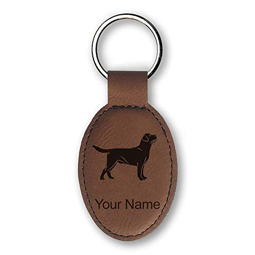 Oval Keychain, Labrador Retriever Dog, Personalized Engraving Included (Dark Brown)