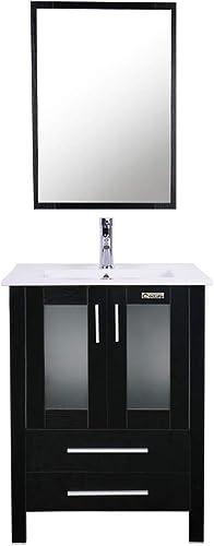 Eclife Modern Bathroom Vanity Suite Stand Pedestal Cabinet Wood Cabinet Vessel Sink Combo