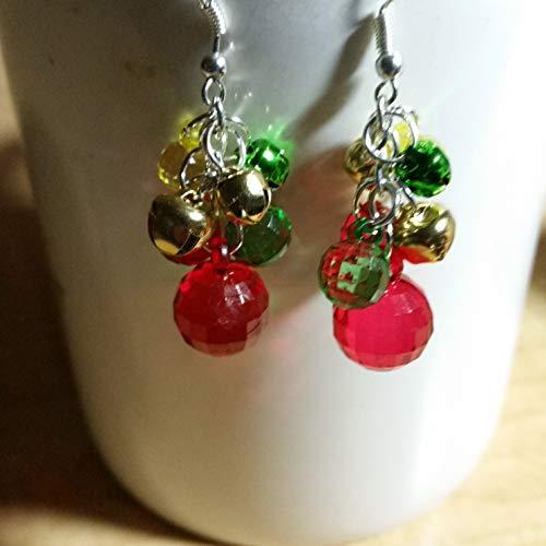 - Christmas Ball and Jingle Bell Earrings - Handmade Beaded Dangle Drop Earrings