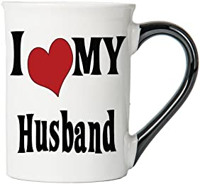 I Love My Husband Large 18 Oz. Coffee Mug; Husband Ceramic Coffee Cup; Gifts For Husbands By Tumbleweed