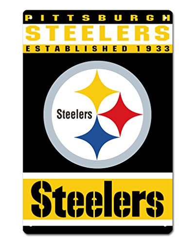 MamaTina Custom Pittsburgh Steelers American Football Team Design Metal Tin Signs for Home Wall Decor Size 12x8 Inches