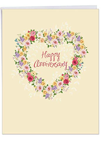 (J6578AANG Jumbo Card: Heartfelt Anniversary, Featuring a Floral Heart Shaped Wreath and Sprays Filled with Colorful Roses Around the Words