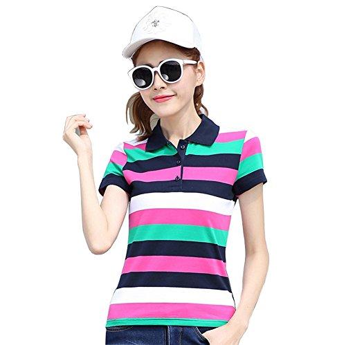 FEVON ポロシャツ レディース 半袖 夏 スポーツウェア ボーダー柄 バイカラー 配色 おしゃれ トップス Tシャツ カットソー スキッパー ゴルフウェア ベーシック コットン 吸汗 速乾 大きいサイズ M-6XL