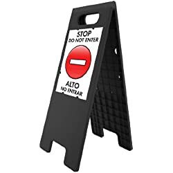 Headline Sign 5694 Customizable Floor Tent Sign with 2 Double-Sided Inserts and 2 Protective Covers, Black, 10.5 x 25 Inches (5694)