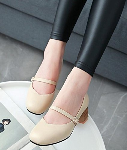 IDIFU Womens Dressy Buckle Strap Low Top Mid Chunky Heels Square Toe Pumps Mary-Jane Shoes Beige 11vK7X