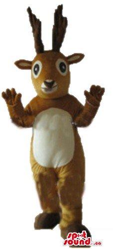 [Deluxe cream and brown Christmas Reindeer SpotSound Mascot US costume] (Deluxe Reindeer Mascot Costumes)