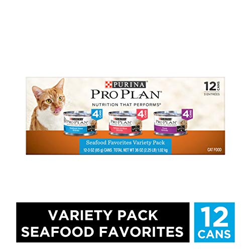 Purina Pro Plan Wet Cat Food Variety Pack, Seafood Favorites – (2 Packs of 12) 3 oz. Cans
