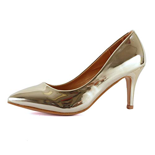Guilty Shoes - sanzi-2 Gold Patent, 7.5