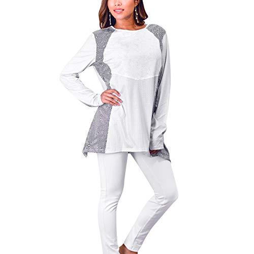 Maniche shirt White Patchwork Lunghe A T Colore Blocchi Uebzsoonfwoe Di qtw4B