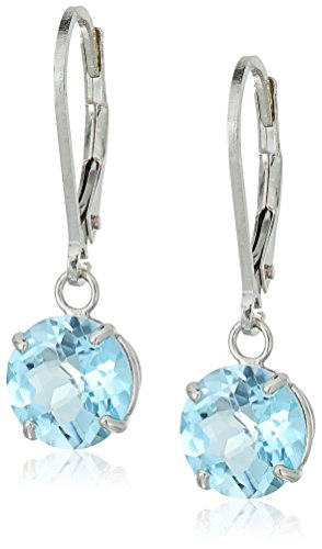 (Sterling Silver Round Checkerboard Cut Sky Blue Topaz Leverback Earrings)