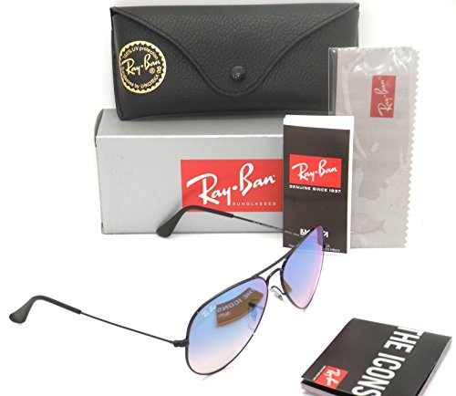 New Authentic RB 3025 002/4O 58mm Black Frame / Blue Gradient Mirror Lenses - Ray Authentic Ban Sunglasses