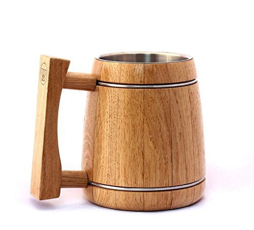 Oak Wood Viking Wooden Traditional Beer Mug with Stainless Steel Insert Natural Eco-Friendly Gift - 530 Ml (18 oz) Beige By WoodTrim - Pack of 6 by WoodTrim