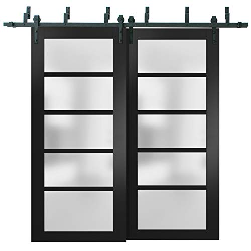 Sliding Closet Frosted Glass Barn Bypass Doors 84 x 96 inches   Quadro 4002 Matte Black   Sturdy Top Mount 8ft Rails…