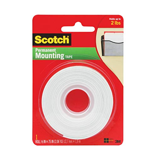 3M 110-3M Scotch 110- Indoor Mounting Tape, 1/2-inch x 75-inches, White, 1-Roll (110)