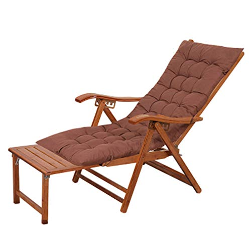 Bamboo Recliner - SACKDERTY Foldable Zero Gravity Chair Bamboo Recliner Chairs with Pad and Retractable Pedal Sun Lounger Relaxer Steamer Chair