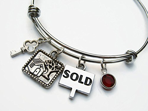 Personalized Realtor Bracelet, Expandable Bangle Bracelet, Stainless Steel Bracelet, Real Estate Jewelry, New Home Gift