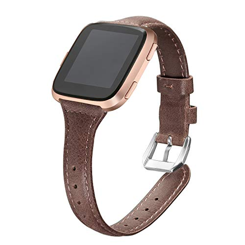 bayite Bands Compatible Fitbit Versa, Slim Genuine Leather Band Replacement Accessories Strap Versa Women Men (5.3