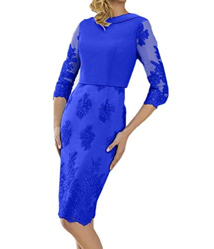 mit Festlichkleider Etuikleider Abendkleider Blau Langarm Royal Charmant Knielang Blau Damen Brautmutterkleider Spitze xnF448
